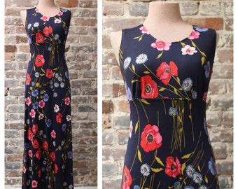 VTG 1970s Poppy Print Maxi Dress