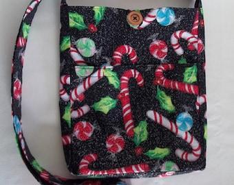 Christmas Crossbody Bag,  Candycane Crossbody Bag, Candy Cane Glitter, Cross Body Bag, Teen Purse, Small Purse, Gifts for Her, Christmas