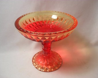 Vintage Amberina Jeannette Glass Company Windsor Pattern Compote