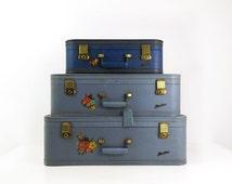 Starline Suitcase Set of 3 / Vintage Blue Luggage