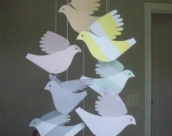 Paper Birds--Mobile Eight Pastel Paper Birds