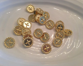 All the same button - 23 vintage gold metal shank buttons
