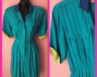 Vintage 1980s Dark Teal Romper Color Block Playsuit Shorts