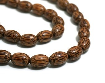 Natural Palm Wood Beads, 15mm x 10mm wooden ovals, half & full strands available  (1225R)