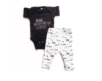 Brand Spanking New / hi, I'm new / baby shower gift / unisex baby gift / take home outfit