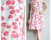 1960s Dress // Pink Carnation Dress // vintage 60s dress