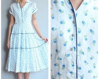 1950s Dress // Flourishing Floral Day Dress // vintage 50s dress