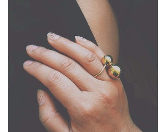 Minimal Brass 'Orbit' Ring