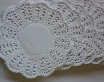 "50 Embossed White Paper Lace Doilies 4"" OR 5"" ~ *Christmas*wedding*high tea* + POST"