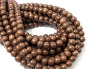 Magkuno Wood, Dark, 6mm-7mm, Round, Smooth, Small, Natural Wood Beads, 16 Inch Strand - ID 1044-DK