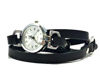 Black Leather Wrap Watch / Wrap Around Watch / Leather Wrap Watch / Black Watch / Women's Watch