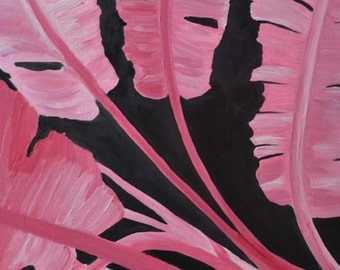 1/2 OFF Banana Trees Painting New Orleans French Quarter Courtyard Louisiana hot pink black trees tropical garden plant botanical art
