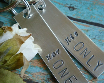 His and Hers Key Chains Her One His Only His One Her Only Set of Key Chains