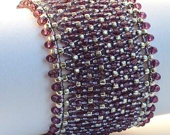 Beaded Bracelet, Net Embellished with Swarovski Crystals Bracelet, Luxury Bracelet, Woven Bracelet