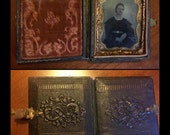 1/9 1860s Tintype in Leather Traveling Case