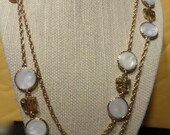 Vintage Emmons Long Gold Tone Neckace with White Discs