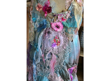 Unique Art to Wear Beautiful Silk Tunic/Dress BLUE CINDERELLA Fairy Silks Antique Deatails Boho Marie Antoinette Tattered Gipsy