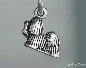 Miniature Sterling Silver Shih Tzu or Lhasa Apso Charm Tiny Solid .925
