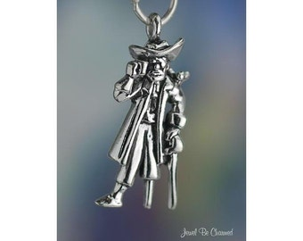 Sterling Silver Pirate Charm Peg Leg Pirates and Parrot 3D Solid .925