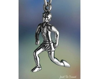 Sterling Silver Male Runner Charm Running Jogging Athlete 3D Solid 925