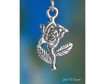 Sterling Silver Rose Charm Sterling Silver Pretty Roses Flat Solid 925