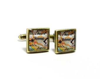CUSTOM Vintage Map Square Cuff Links. One Pair. Select Two Cities Worldwide. Destination Wedding. Travel Wedding. Location Cufflinks. Gifts.