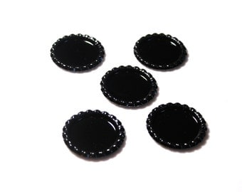 "Flattened 1"" Black Bottle caps Double sided  - Set of 25- Wholesale Bottle Caps -  Bottle Cap Crafts - Bottle Caps for 1"" images"