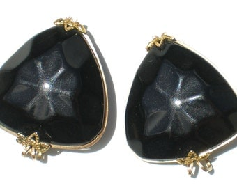 Geometric Black Triangle Slide Earrings are Molded Plastic Hillcraft Vintage Jewelry on Gold Filled Setting
