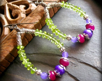 SALE Gypsy Gemstone Hoops, Peridot Earrings, Purple Freshwater Pearls, Plum and Lilac Jade, Sterling Silver, Semi Precious Stone Jewelry