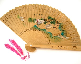 Expandable hand fan for women to stay cool, weddings & events, laser-cut wood, painted 2 sides pink blossoms, stork birds, pink cord tassels