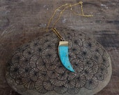 Turquoise bear claw knife necklace