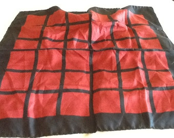 Vintage Large Square Silk Pocket Square Italy Black and Red Checkerboard
