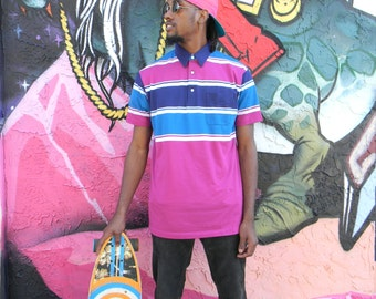Vintage 80s Short Sleeved Polo Shirt - Bold Magenta, Teal, and Navy Blue Classic Striped Mens COLOR BLOCKED Pullover Polo Shirt - M L