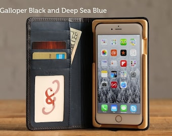 The Luxury Book Case for iPhone 7 Plus - Galloper Black and Deep Sea Blue