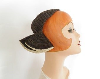 Vintage calotte hat with side flaps, 1930s 1940s NY Creation
