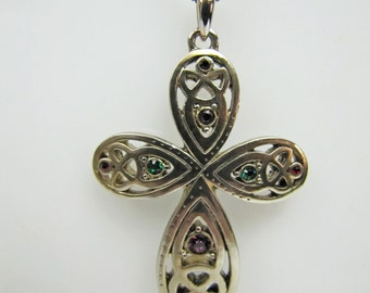 Solvar Irish Sterling Silver Trinity Knot Cross Pendant Necklace Emerald Ruby Crystals Vintage Sterling Silver Estate Jewelry Ireland