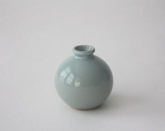 Vintage Pale Blue Ceramic Bud Vase