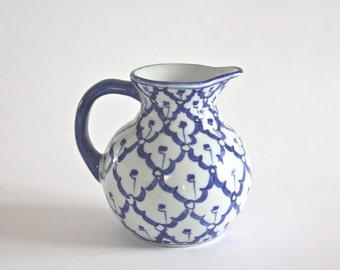 Small Vintage Blue and White Porcelain Pitcher, Creamer