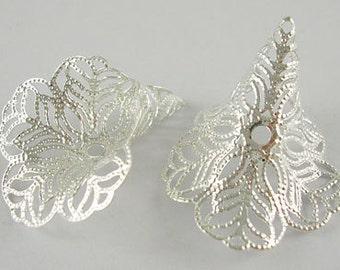 NEW Silver Plated Filgree Bead Caps 24 MM x 29 MM (10)  (FBC001)