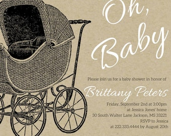 Antique Baby Carriage Baby Shower Invite, digital download, customizable, printable