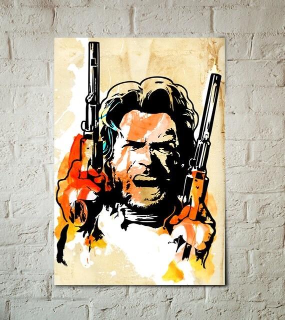 Clint Eastwood fan art Celebrity Portrait Art Print, Cowboy, Western, Movie Star,  Movie, Poster, Western Decor, Man Cave Art, Celebrity Art