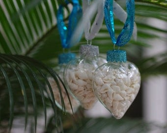 Beach Decor Seashell Heart Ornaments - Set of 3 Glass Heart Shape Ornaments