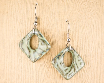 Handmade pottery earrings in Lagoon green. Earthy and casual. Surgical Steel Earwires / clay jewelry / casual earrings