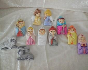 11 Piece Hand Painted Nativity Ornaments for the Christmas Tree, Nativity Tree Ornaments