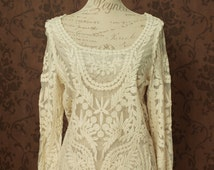 Lace blouse, off white ivory Victorian inspired lolita shirt boho chic steampunk blouse bridal vintage wedding