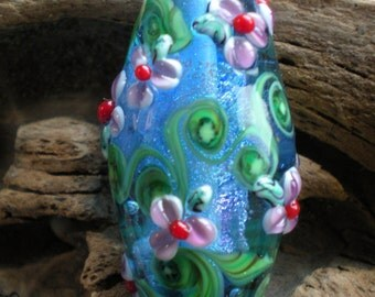 Blue Dichroic Bicone Focal with Purple Flowers