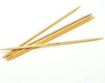"""50 pcs. Natural Bamboo Double Pointed DP Knitting Needles - 5.1"""" - 13cm - UK Size 11 - 3mm"""