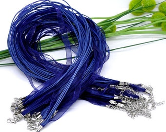 15 pcs. Royal Blue Organza Ribbon Waxen Cord Necklaces with Lobster Clasp - 17 inch (43 cm) - Claw Clasp