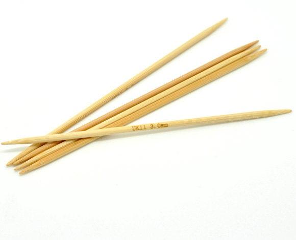 3mm Knitting Needles : 50 pcs. Natural Bamboo Double Pointed DP Knitting Needles - 5.1