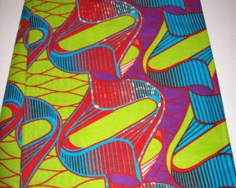Latest design African fabric per yard, Lime Green, Blue multicolor/ Trendy wax print fabrics/ Ankara/ African Maxi Skirt fabric